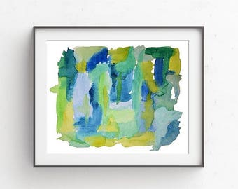 Abstract Watercolor, Blue Watercolor, Watercolor Painting, Abstract Art Print, Modern Painting, Blue Art, Green Art, Watercolor Art Print