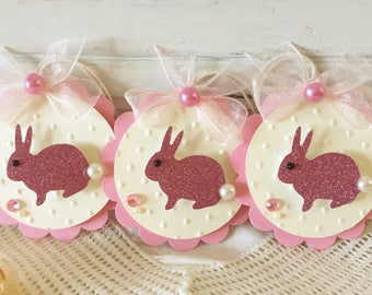 Spring pink Glitter Paper Easter Bunny Embellishment Tags set of 3