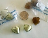 Sale Destash gold blown glass heart beads, gold foil glass heart beads, heart beads
