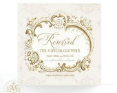Reserved for Lisa, Soiree, cake card, vintage style in mint green and pink for bridal shower, birthday and tea party