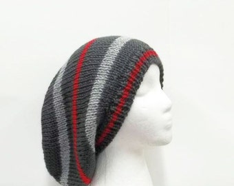 Red Gray hand knitted slouchy hat