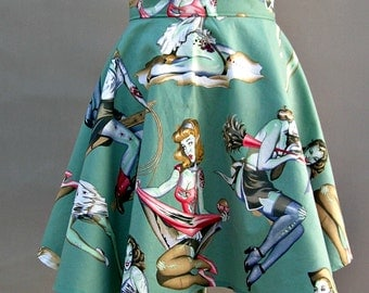 Ladies Half Apron with Alexander Henry Beauties and Brains Zombie Fabric