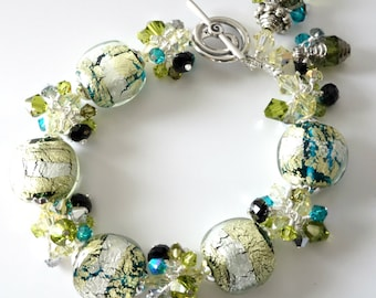 Lampwork Bracelet, Yelllow, Lime Green, Aqua, Black, Foil Glass, Silver Beaded Jewelry, Vintage Czech Beads, Beaded Jewelry, Gift for Her