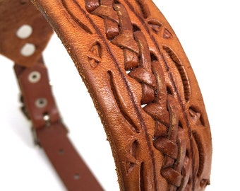 Rustic Leather Dog Collar with Tooling and Braiding, Size S-M, to fit a 13-16 Neck, Small to Medium Dog, Unique, EcoFriendly, OOAK