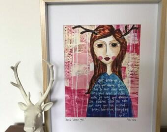 Fine Art Print by Kristie Banham @ Coco's Closet, mixed media, print, she, women, inspire, ready to frame 8x10 print