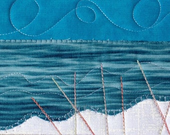 Beach Quilt Art - Landscape Postcard - Fiber Art - Fabric Postcard - Landscape Art - Greeting Card - Summer Vacation - Ocean Landscape