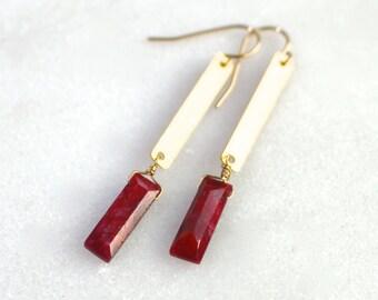 Ruby Tab Drop Modern Earrings in 22kg Vermeil...
