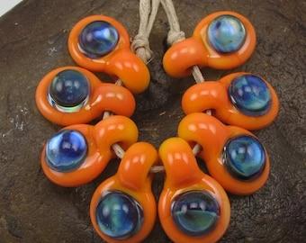 End of Year Sale Handmade Glass Lampwork Bead Set (8) Handmade by Jason Powers SRA
