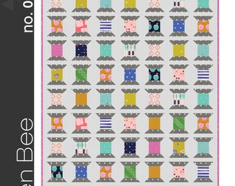 Green Bee Design & PATTERN - Spools Quilt - 4 Size Options
