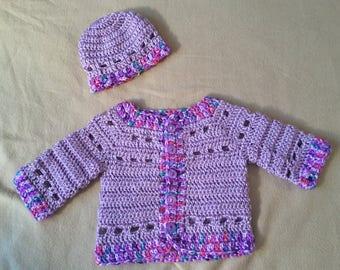 Handmade Crocheted Newborn Sweater and Hat set