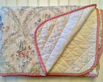Vintage Quilted Coverlet / Blanket - Roses Scrolling Bows - Twin Full - Shabby Chic - Two Available