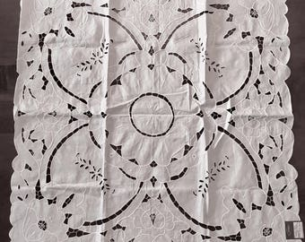 """White Cutwork Table Topper - Square Tablecloth - 34"""" x 34"""" - All Cotton - Unused with Tags - Orem Linens"""