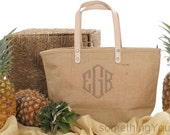 Monogram Jute Tote Bag, Personalized Natural Burlap totes, Monogrammed Jute purse, Personalized jute tote with leather handles, hostess gift