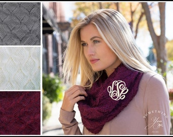 Infinity Scarf in Chunky Cable Knit -  Soft womens circle scarf, maroon burgundy grey gray ivory, embroidery blanks, destash