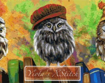 Wise owls - modern cross stitch kit