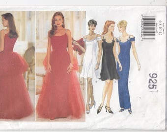 Misses Wedding Dress Bridesmaid MOB Evening Party Tapered or Flared Detachable Tulle Train Butterick Sewing Pattern 4446 Sizes 6-12 Uncut