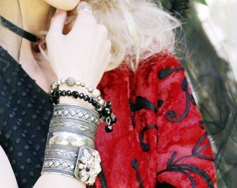 GOTHIC Black Jett Crystal and Vintage Silver Metal Bead Wrap Bracelet with Angel Milagro
