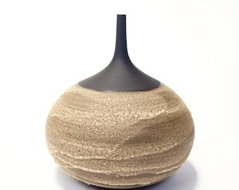 Made to order- one large black stoneware bottle vase by sarapaloma