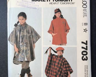 Vintage McCall's 7703 Pattern - 1980's Girl's Poncho Pattern - all sizes
