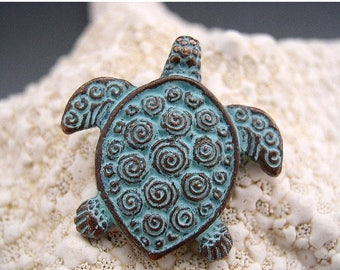 TAX SALE Naos - Sea Turtle Pendant - Mykonos Greek Copper Antiqued Green Turquoise - Double Sided with Spirals