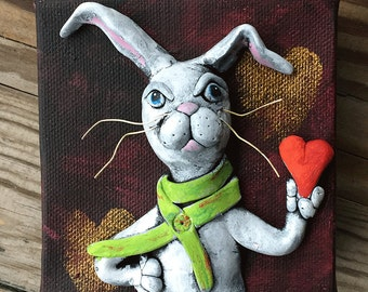 Clay on Canvas Original Art - Sculpted White Rabbit Art - Heart Thief Rabbit -Quirky Home Decor - Quirky Art - Polymer Clay Rabbit