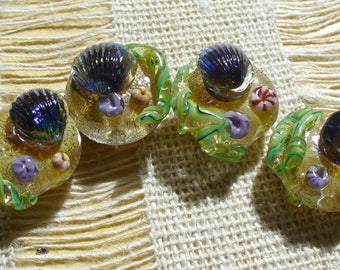 SRA LAmpwork Glass Beads Handmade by Catalinaglass Tide Pool Beaches