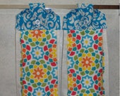 SET of 2 - Hanging Cloth Top Kitchen Hand Towels - Turquoise DAMASK Print, Larger Kaleidoscope Towels
