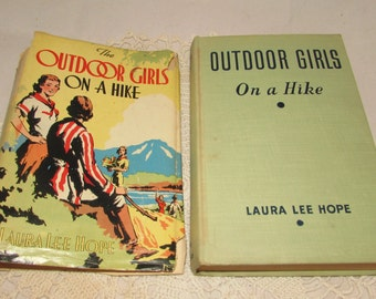 Vintage Hardcover Adventure Book with Dust Jacket, Outdoor Girls on a Hike, 1929, Laura Le Hope, childrens adventure, Whitman Pub