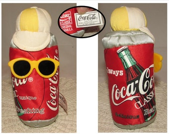 Vintage Coca Cola Classic Stuffed Bean Bag Collectible, 1997, Coke Can Man with Sunglasses and Cap