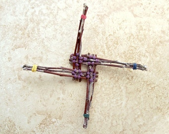 Wooden Brigid Cross - Celtic inspired Home Blessing Ornament - Rustic Housewarming Gift - Homegrown Organic Apple Wood - Woven Colors ABC01