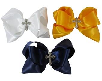 Choose Color Cross Rhinestone Hair Bow Clip for Girls, Baby, Christening, First Communion, Church Bow, Flower Girl, White , Black, Ivory
