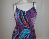 Closing Shop Sale 40% Off 90s colorful SCRUNCHY top womens  super stretchy TEXTURED shirt one size fits most   tank top camisole