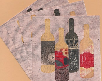PN100 Set of 4 Paper Napkins by Cypress Home ~ 5x5 ~ Wine Fragments, Bottles of Wine, Vino