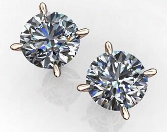 3 carat NEO moissanite earrings, colorless moissanite, 14k gold stud earrings
