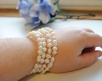 Fresh Water Pearl Swarovski Crystal Wrap Bracelet - Bridal Jewelry
