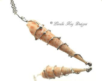 Soldered Seashell Necklace Mermaid Beach Jewelry Long Seashell Necklace Lorelie Kay Designs