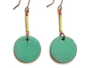 Aqua Enamel Earrings