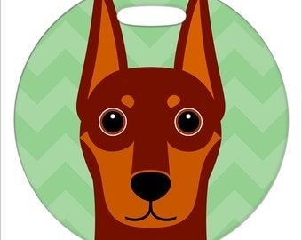 Luggage Tag - Doberman Pinscher - Red - Round Plastic Bag Tag