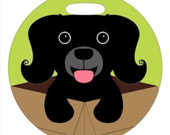 Luggage Tag - Dog in a Box - 2.5 inch or 4 Inch Round Plastic Tag