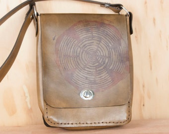 Small Leather Cross body Bag - Handmade Purse in the Big Woody Pattern with Wood Round -  Mens or Womens Shoulder Bag in Brown Leather