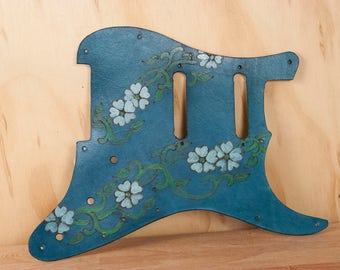 Leather Pickguard - Handmade Guitar Pick Guard for Fender Stratocaster - Blue, white, green