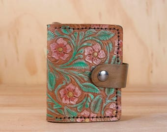 Small Coin Wallet - Limited Edition with Tooled Floral Pattern in Pink, Green, Yellow and Antique Brown - ONE OF A KIND