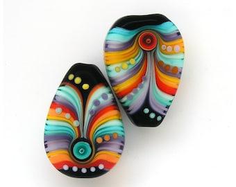 Michal S- Glass Art Lampwork raindrop bead set (2) ready to ship