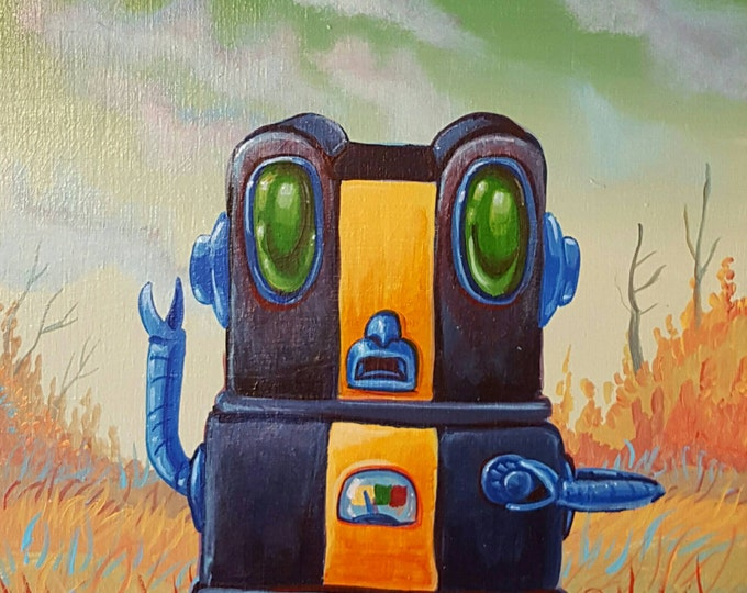 Black and Gold Robot - Original painting by Mr Hooper of Nashville Tennessee