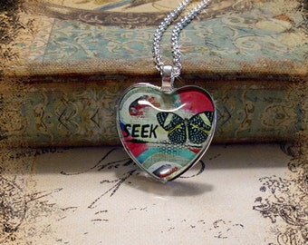 SEEK, altered art, illustration pendants, gift boxed, valentine pendant, love, collage art, butterflies, altered art pendants, heart jewelry