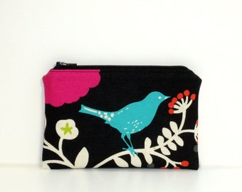 Small Zippered Notions Pouch - Madrigal with blue bird, Japanese fabric