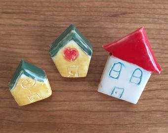 Little Houses Push Pins | Ceramic Push Pin | Cute Thumbtacks | Cute Office Supplies