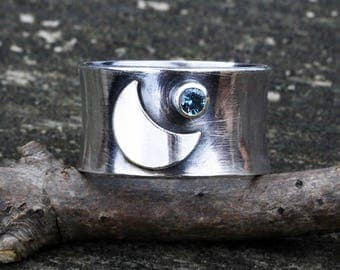 Crescent moon and blue zircon sterling silver wide band ring