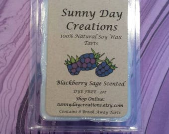 Blackberry Sage Scented 100% Natural Soy Wax Break Away Tarts 3 oz