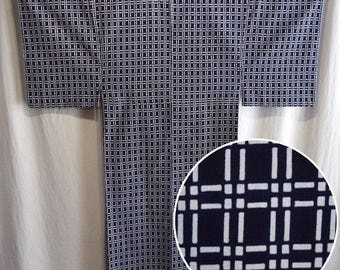 Vintage Japanese Yukata Kimono Man's Casual Robe Cotton - Circuitry